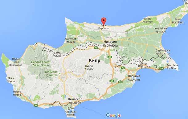 Кирения (Гирне) на карте Кипра