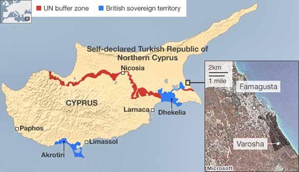 Вороша на карте Кипра