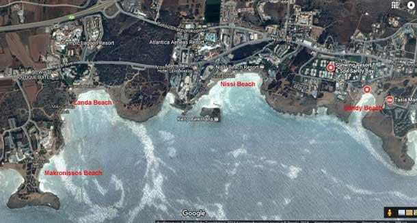 Пляжи Айя Напы на карте фото