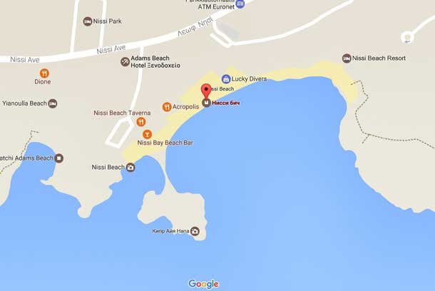 Пляж нисси бич Кипр на карте
