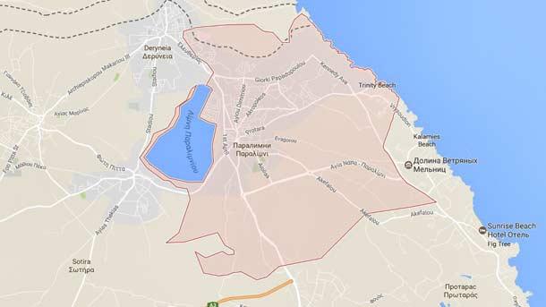 Расположение Паралимни на карте Кипра